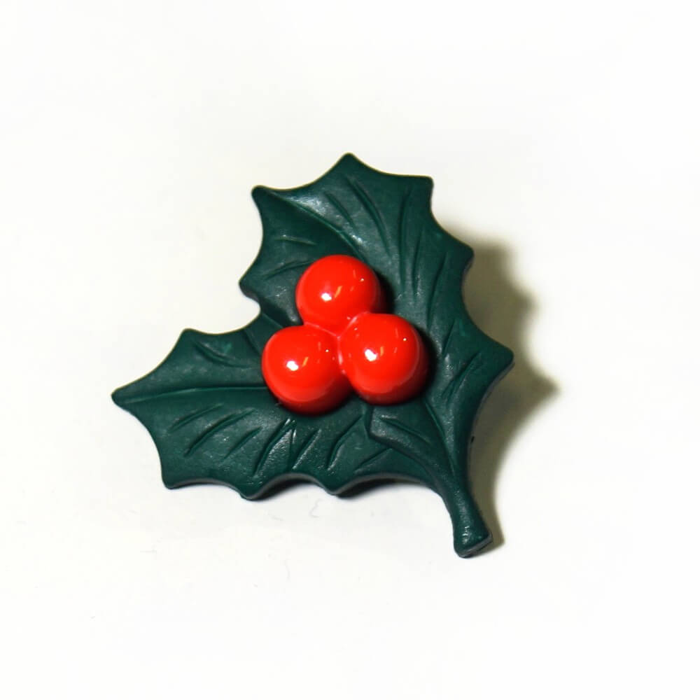 5, 10 or 20 x 28mm Christmas Holly Leaf Festive Craft Buttons