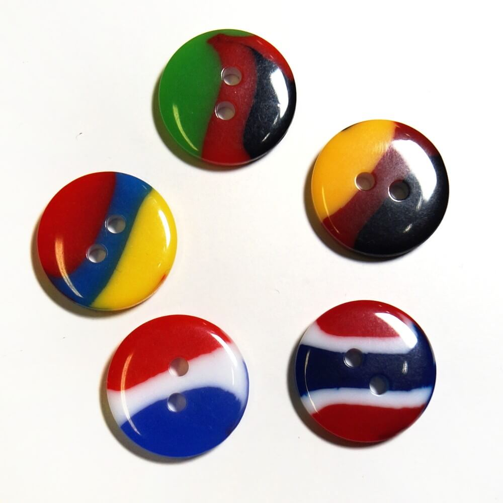 10, 20 x 15mm Tricolour Flag Buttons Germany Romania Malawi France Denmark 09 Red/ White/ Royal