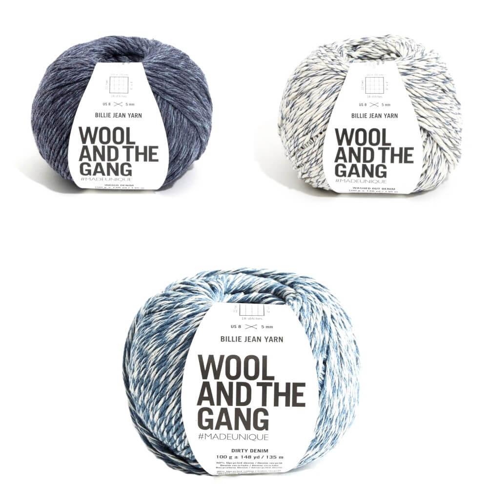 Wool and the Gang Billie Jean Upcycled DK Yarn 100g Ball Knitting Crochet Craft Washed Out Denim
