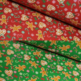 Polycotton Fabric Christmas Gingerbread Hearts Candy Cane Festive Bow Xmas Sweet