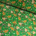 Polycotton Fabric Christmas Holly Berries Mistletoe Festive Xmas Leaves Berry