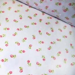Pink Polycotton Fabric Tulip Roses On White Floral Flowers Garden Summer Meadow