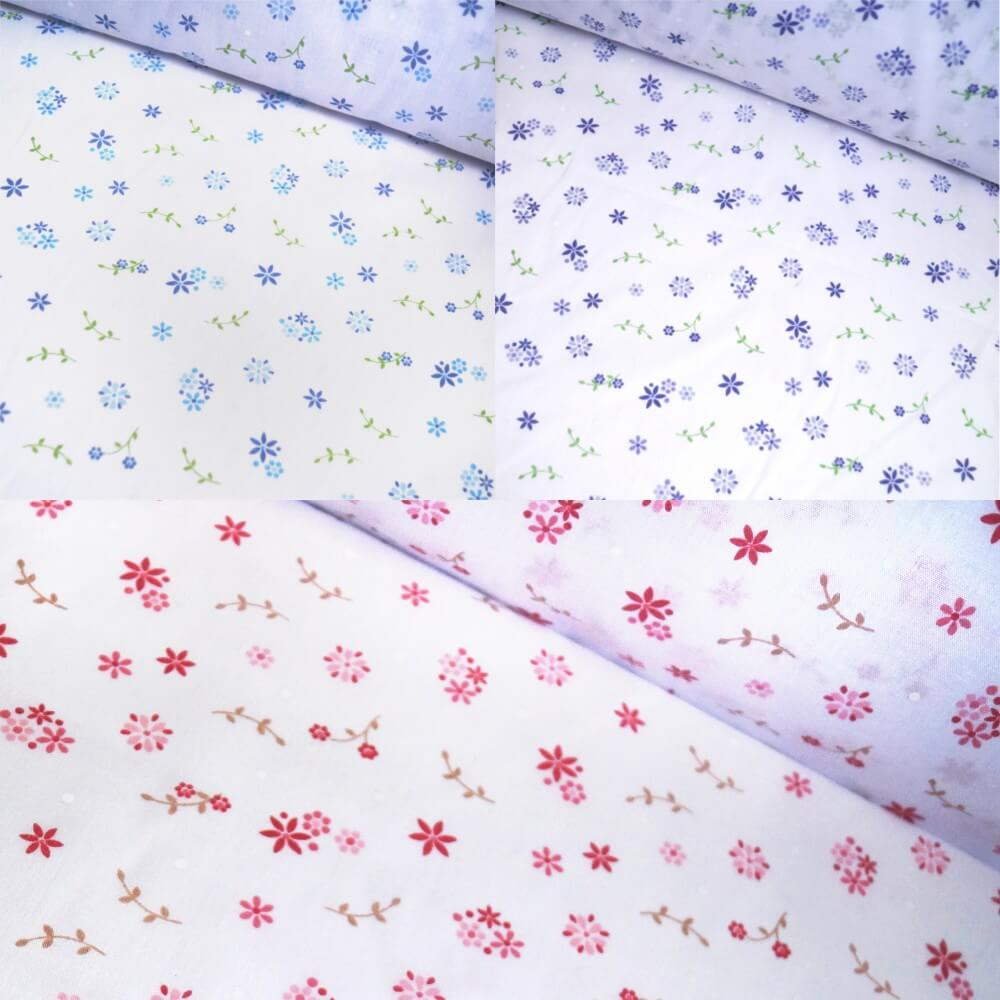 Polycotton Fabric Little Flowers & Small Stems Leaves Floral Petal Blue