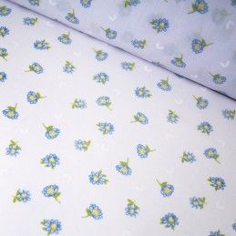 Polycotton Fabric Little Cartoon Daisies Flowers Leaves Floral Petal Blue