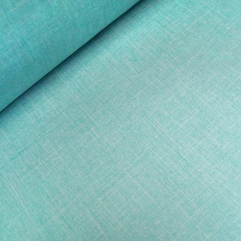 Aqua 100% Polyester Fabric Melange Linen Look Dressmaking Curtains 145cm Wide