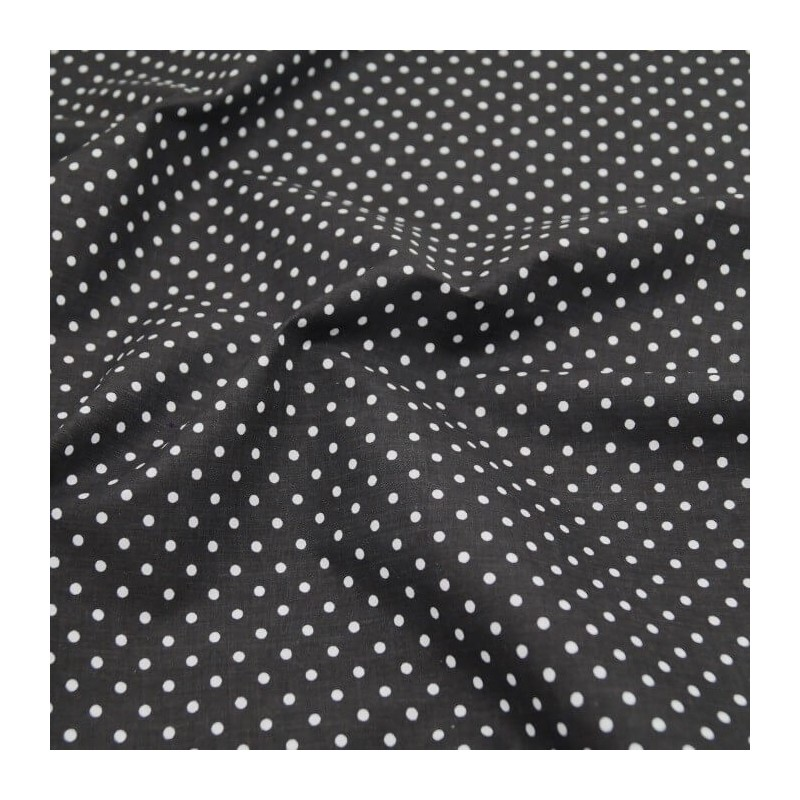 Polycotton Fabric 4mm Spots Polka Dots Spotty Craft Dress Black