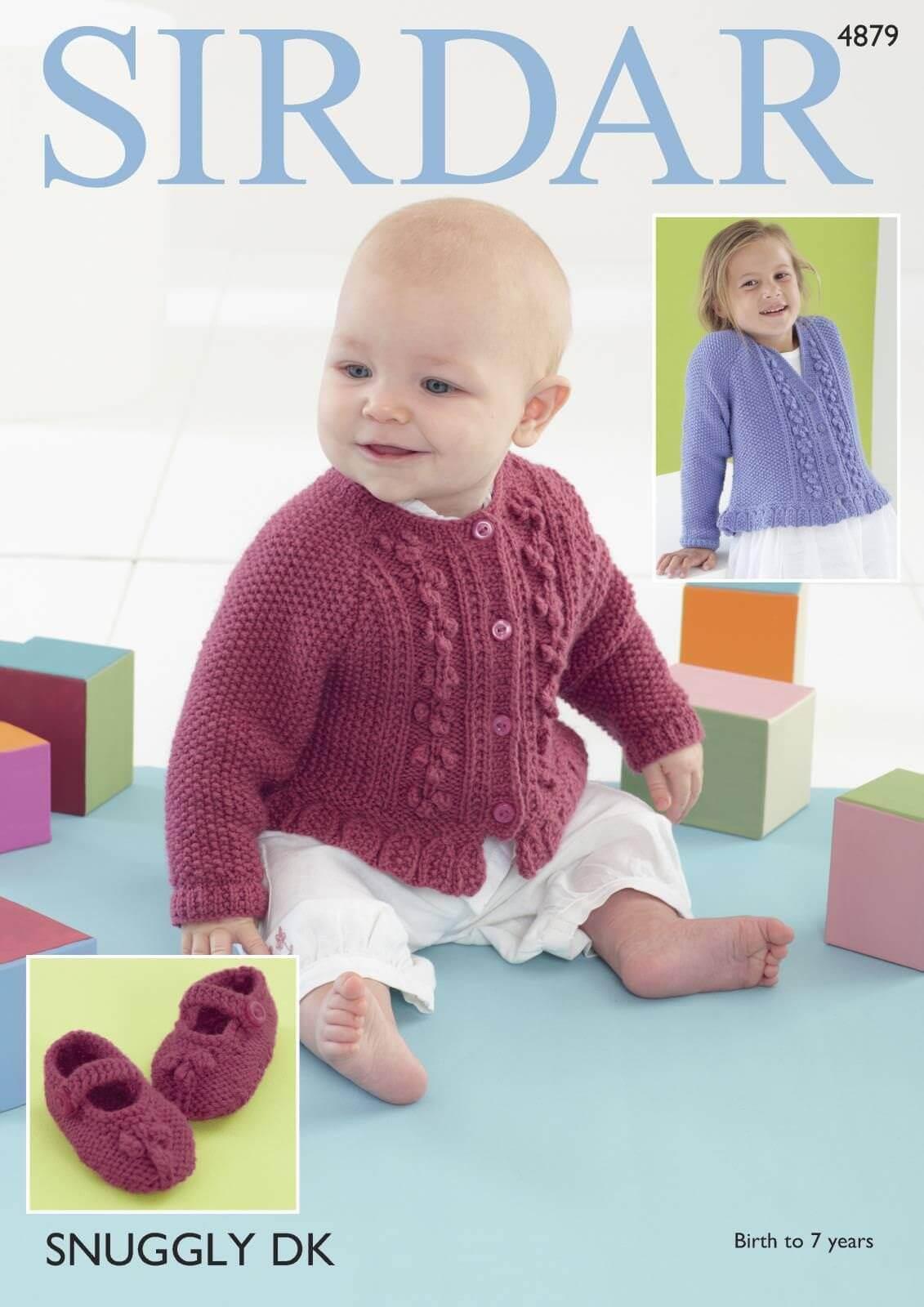 Sirdar Knitting Pattern 4879 Baby Childrens Round Neck Cardigan 0-7 Years