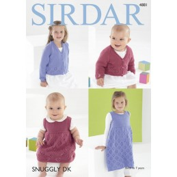 Sirdar Knitting Pattern 4881 Baby Childrens Cardigan Sweater Dress 0-7 Years