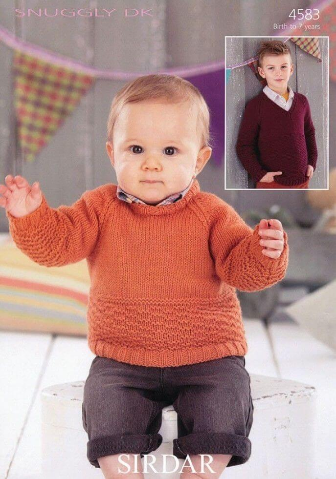 Sirdar Knitting Pattern 4583 Baby Childrens Round Neck V Neck Sweater 0-7 Years