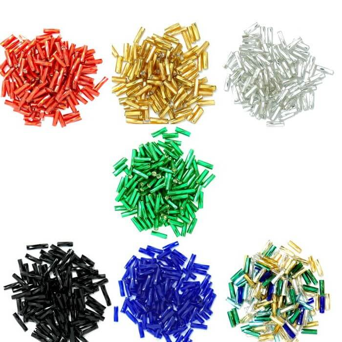 Silver Twisted Bugle Glass Beads 7mm 7 Colours