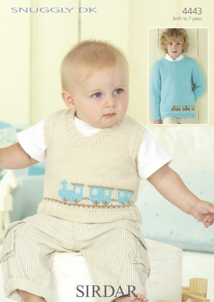 Sirdar Knitting Pattern 4443 Baby Childrens Choo Choo Train Jumper 0-7 Years