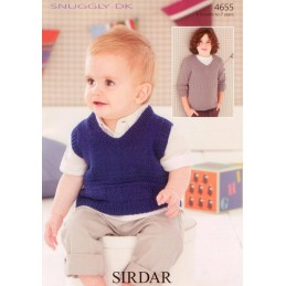 Sirdar Knitting Pattern 4655 Baby Childrens Sweater Tank Jumper 0-7 Years