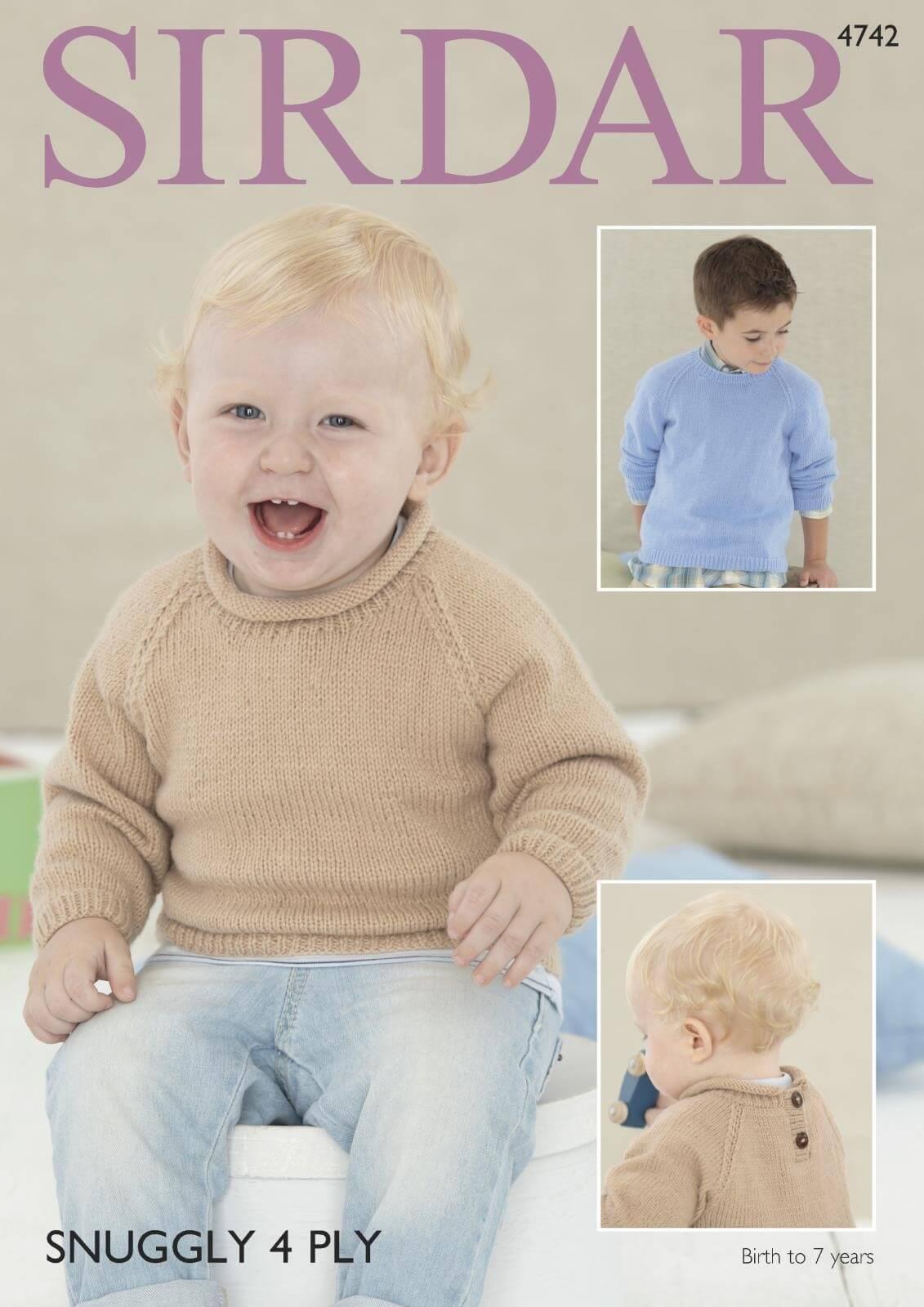Sirdar Knitting Pattern 4742 Baby Childrens Roll Neck Round Neck Sweater Jumper 0-7 Years
