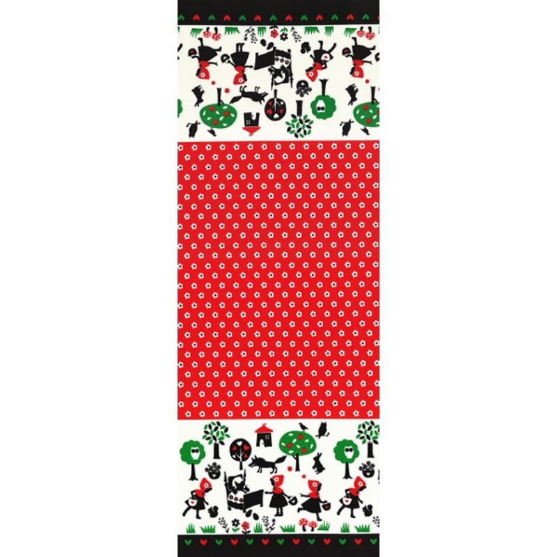 Red Alice In Wonderland Stripe Edge Pale Pink 100% Japanese Cotton Fabric (Lecien)