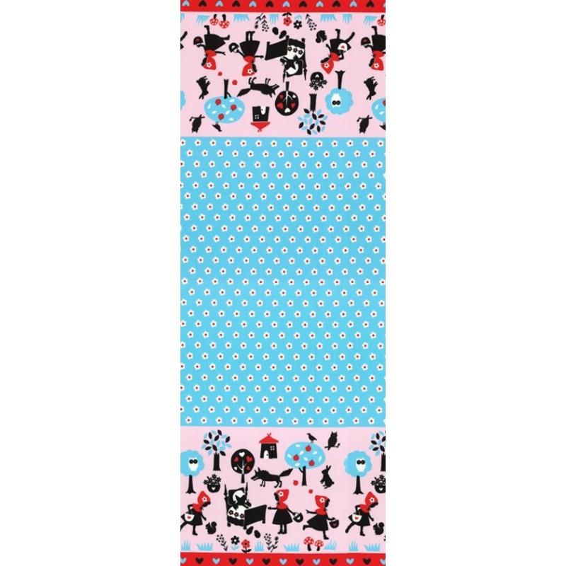 Blue Alice In Wonderland Stripe Edge Pale Pink 100% Japanese Cotton Fabric (Lecien)