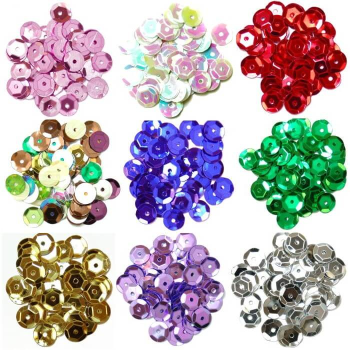 Silver Cup Sequins 8mm 12 Colours