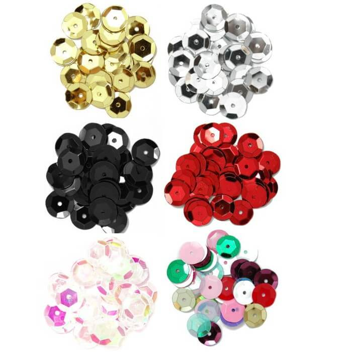 Silver 10mm Cup Sequins  6 Colours