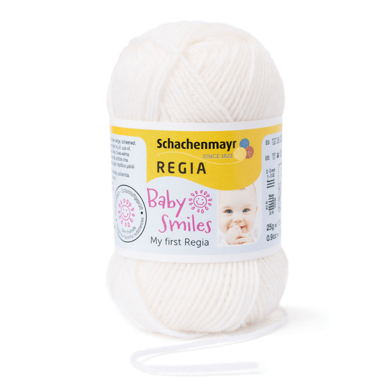 Schachenmayr My First Regia Baby Smiles 4 Ply Sock Wool Yarn 25g Mini Ball Natur