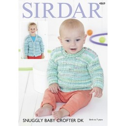 Sirdar Knitting Pattern 4869 Children Cardigan & Sweater Snuggly Baby Crofter DK