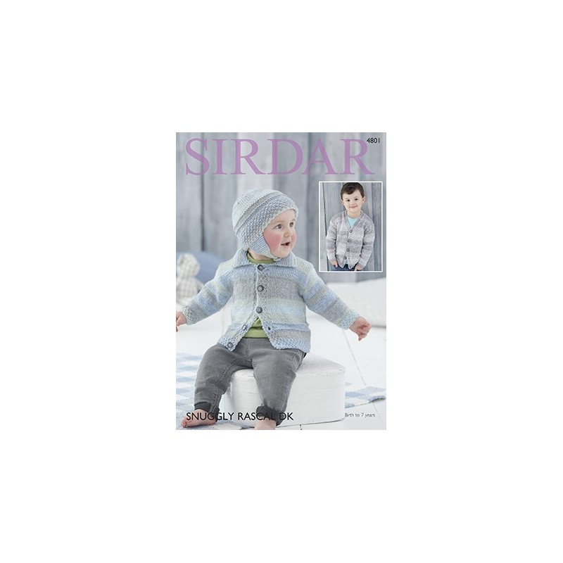 Sirdar Easy Knitting Pattern 4801 Children Baby Cardigan & Hat Snuggly Rascal DK