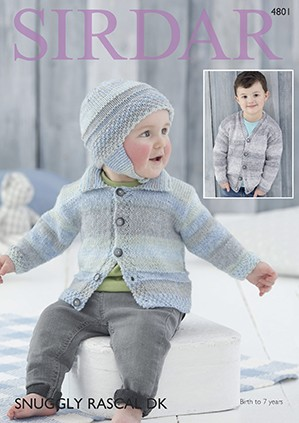 Sirdar Easy Knitting Pattern 4801 Children Baby Cardigan & Hat Snuggly Rascal DK