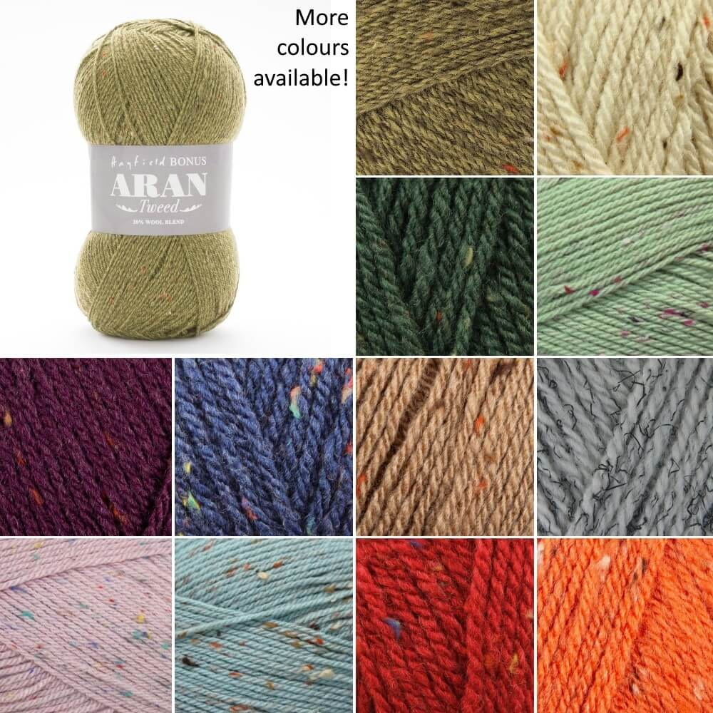 Sirdar Hayfield Bonus Aran Tweed Knitting Yarn 20% Wool 80% Acrylic 400g Ball Oat