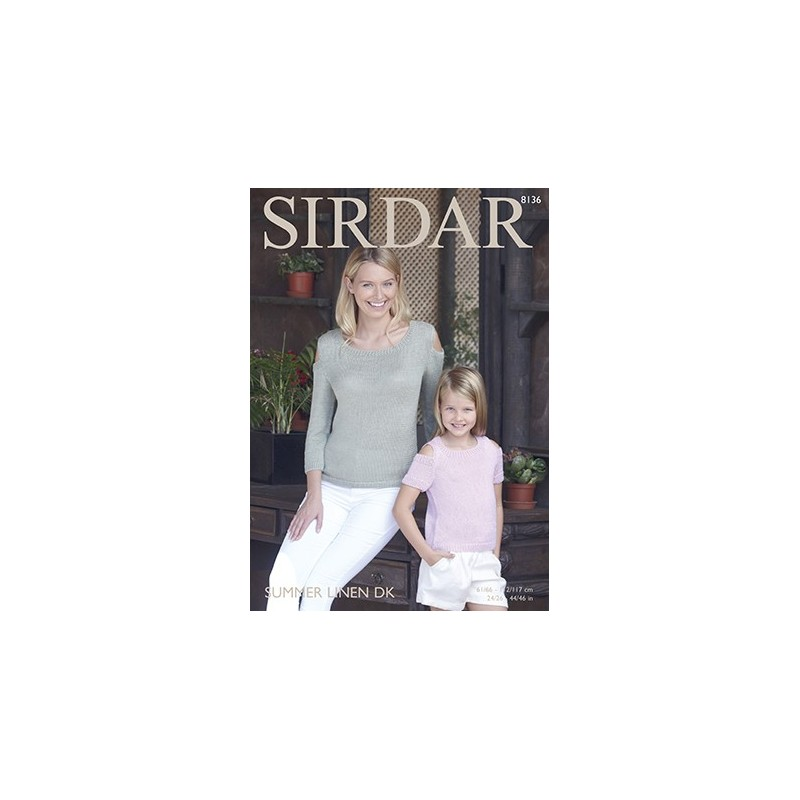 Sirdar Knitting Pattern 8136 Womens Knitted Cold Shoulder Top Summer Linen DK