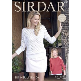 Sirdar Knitting Pattern 8137 Womens Knitted Lace & Plain Top Summer Linen DK