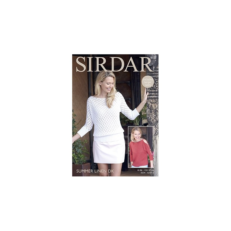 Sirdar Knitting Pattern 8137 Womens Knitted Lace & Plain Top Summer Linen DK