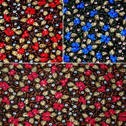 100% Cotton Corduroy Fabric Vintage Floral Flowers Leaves & Dots