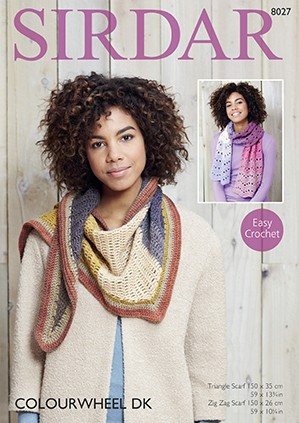Sirdar Easy Crochet Pattern 8027 Womens ZigZag & Triangle Scarf Colourwheel DK