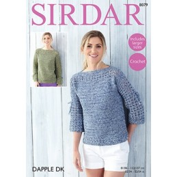 Sirdar Crochet Pattern 8079 Womens Top Long & 3 Quarter Length Sleeves Dapple DK