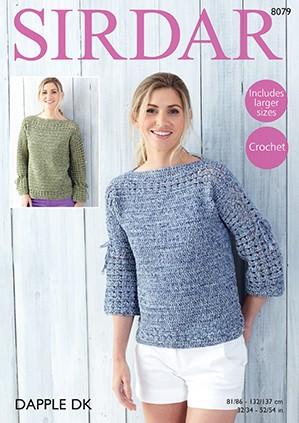 Sirdar Crochet Pattern 8079 Womens Top Long & 3 Quarter Length Sleeves Dapple DK