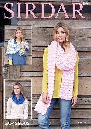 Sirdar Knitting Pattern 8096 Gorgeous Scarf, Wrap & Snood