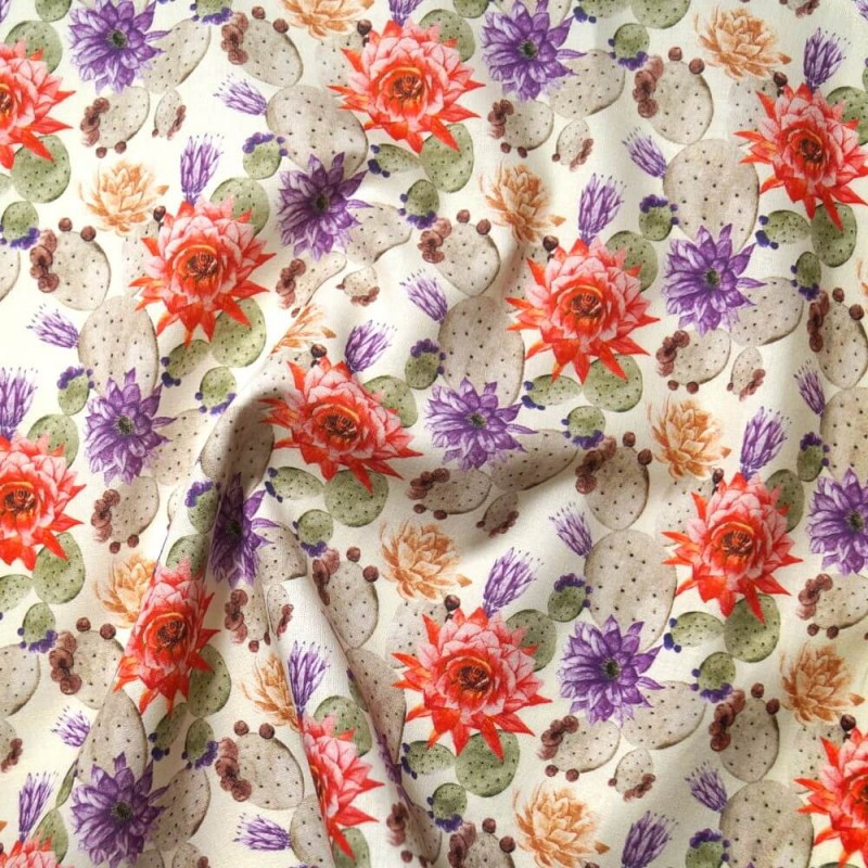 100% Cotton Fabric The Little Johnny Range Floral Cactus 145cm Wide