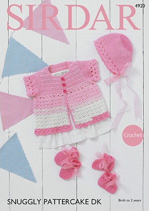 Sirdar Crochet Pattern 4920 Babies Cardigan Bonnet Booties Snuggle Pattercake DK
