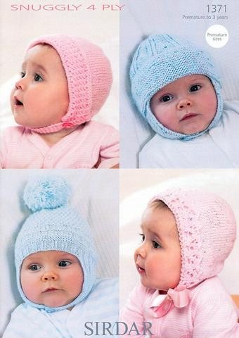 Sirdar Knitting Pattern 1371 Snuggly 4 Ply Baby Bonnets and Hats
