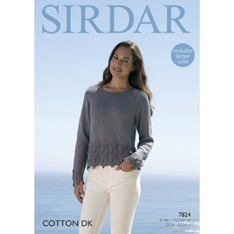 Sirdar Knitting Pattern 7824 Chevron Bobble Hem Sweater in Cotton DK