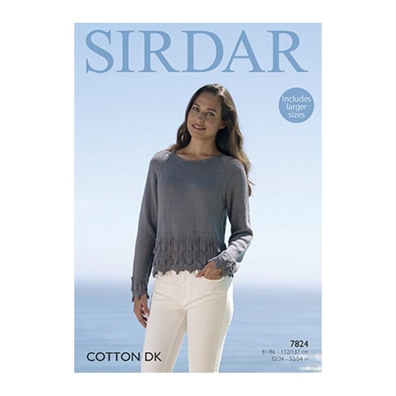 Sirdar Knitting Pattern 7824 Chevron Bobble Hem Sweater in Cotton DK