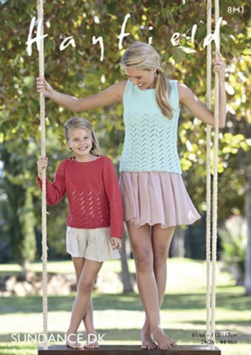 Hayfield Knitting Pattern 8143 Chevron Lace Jumpers and Vests in Sundance