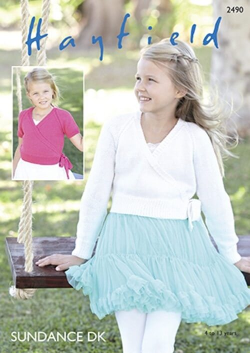 Hayfield Knitting Pattern 2490 Girls Ballet Wrap Style Cardigan in Sundance DK