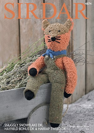 Sirdar Knitting Pattern 4874 Cuddly Soft Cute Fox Snuggly Snowflake Hayfield Bonus