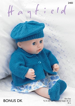 Sirdar Knitting Pattern 2483 Baby Doll Jacket Beret Shoes Pants Bonus DK
