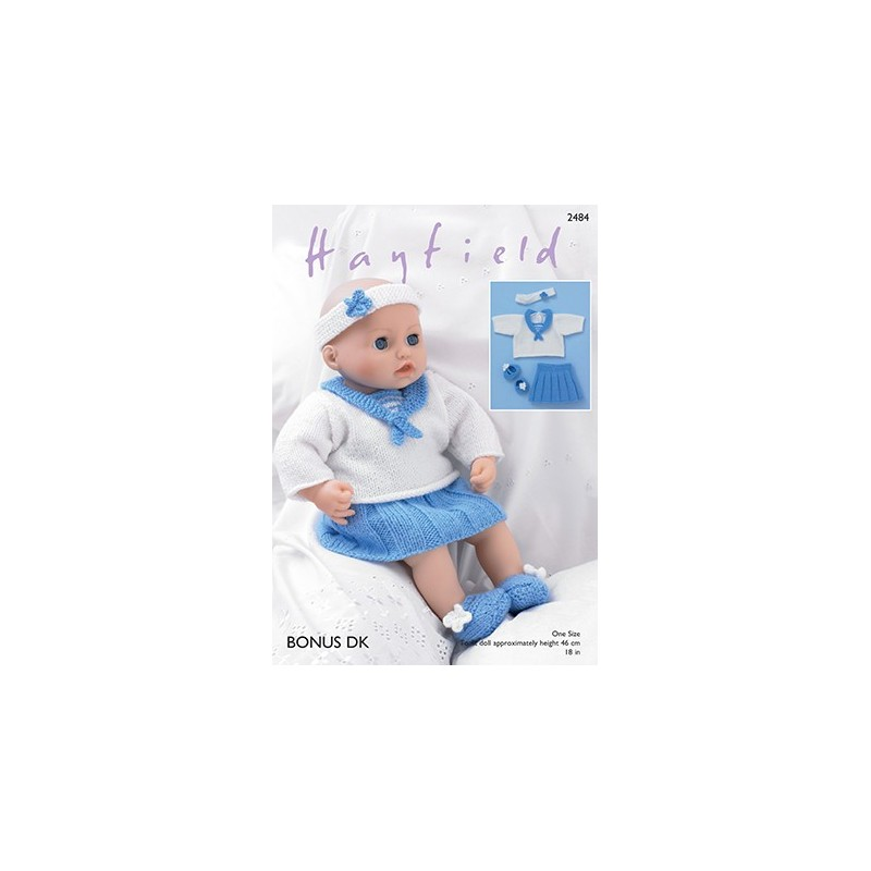 d4b3459a2 Sirdar Knitting Pattern 2484 Baby Doll Sailors Outfit Skirt Top Boo...