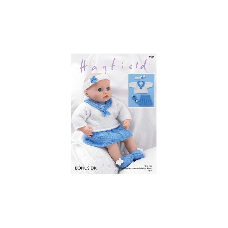 Sirdar Knitting Pattern 2484 Baby Doll Sailors Outfit Skirt Top Booties Bonus DK
