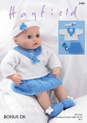 Sirdar Knitting Pattern 2484 Baby Doll Sailors Outfit Skirt Top Booties Bonus DK