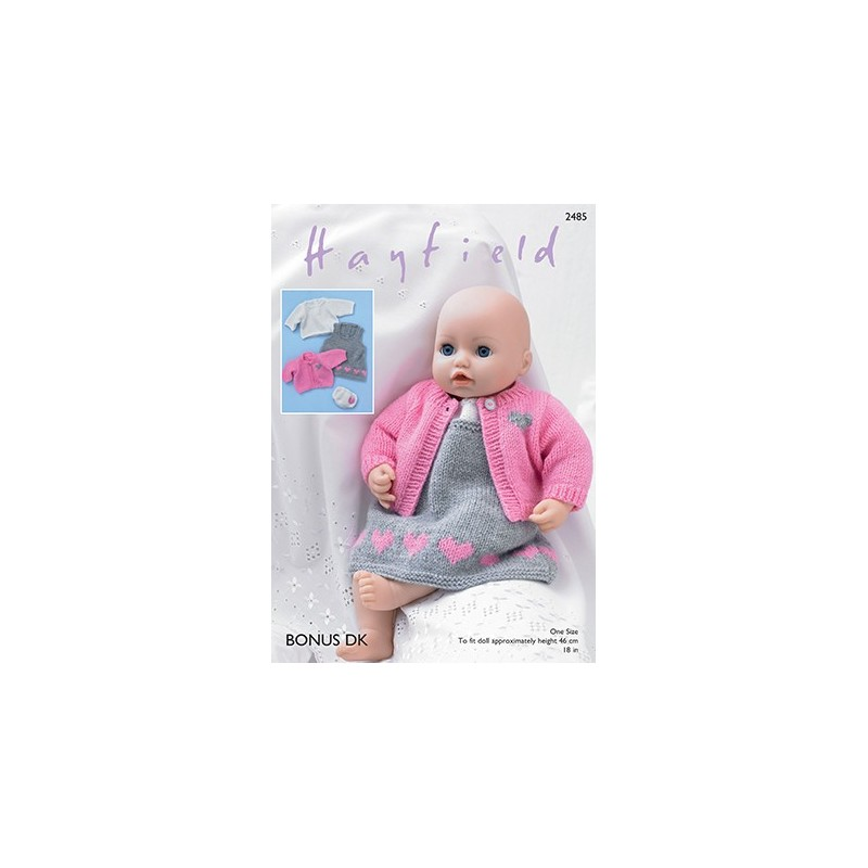 Sirdar Knitting Pattern 2485 Baby Doll Pinafore Outfit Dress Jacket Top Bonus DK
