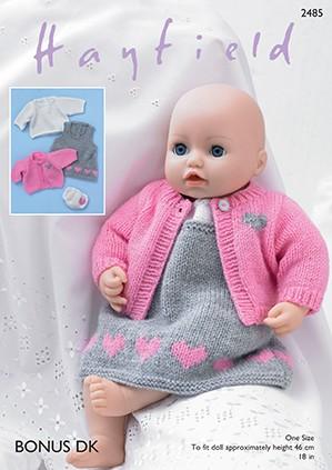 Sirdar Knitting Pattern 2485 Baby Doll Pinafore Outfit Dress Jacket Top Bonus DK