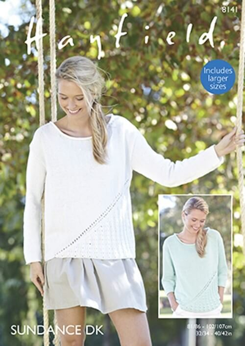 Hayfield Knitting Pattern 8141 Corner Lace Design Sweaters Tops Sundance DK