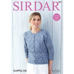 Sirdar Knitting Pattern 8081 3/4 Sleeve Cardigan with Chevron Design DK